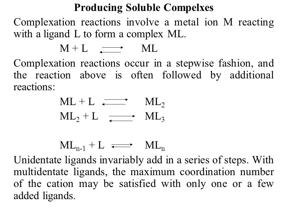 Producing Soluble Compelxes