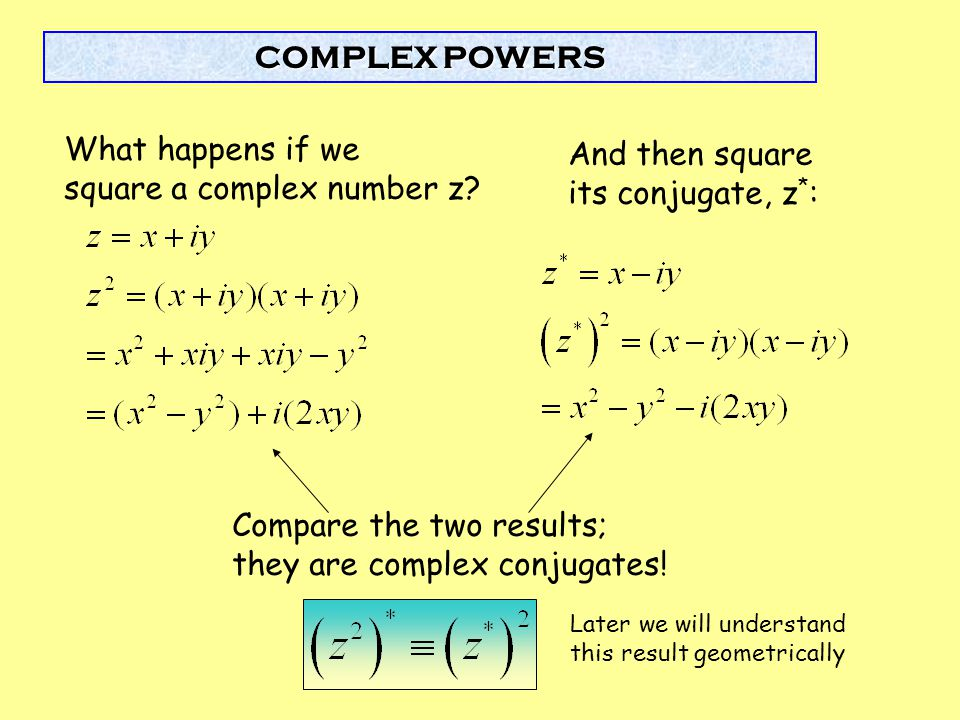 square a complex number z And then square its conjugate, z*: