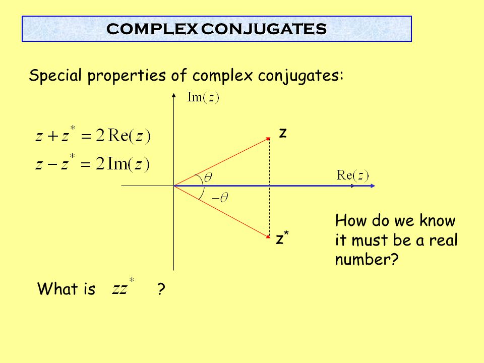 Special properties of complex conjugates: