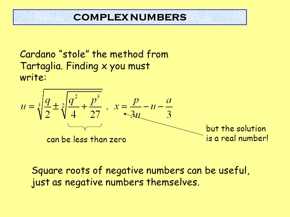 Cardano stole the method from Tartaglia. Finding x you must write: