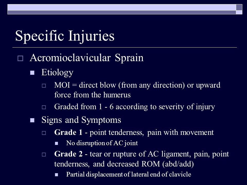 Specific Injuries Acromioclavicular Sprain Etiology Signs and Symptoms