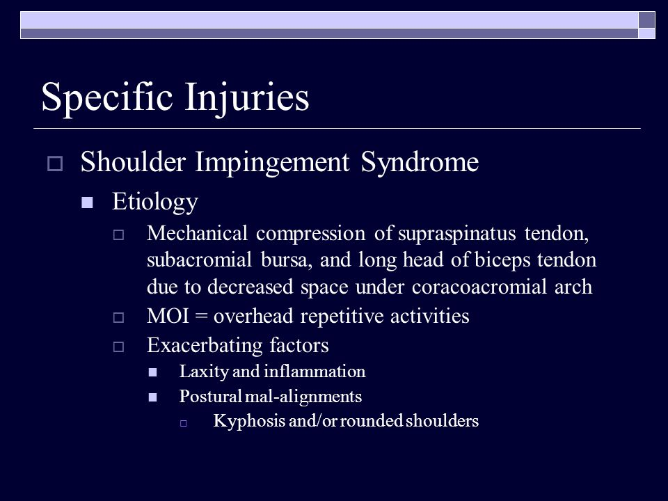 Specific Injuries Shoulder Impingement Syndrome Etiology