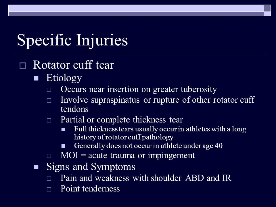 Specific Injuries Rotator cuff tear Etiology Signs and Symptoms