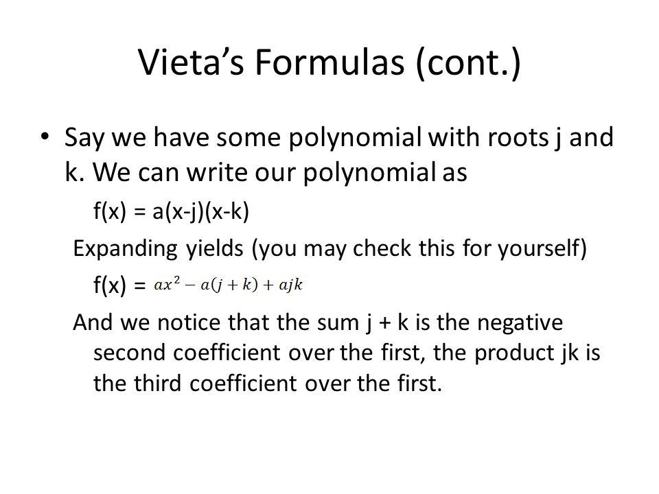 Vieta's Formulas (cont.)