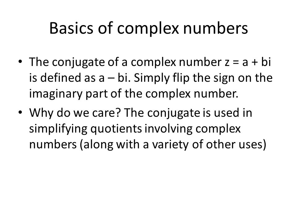 Basics of complex numbers