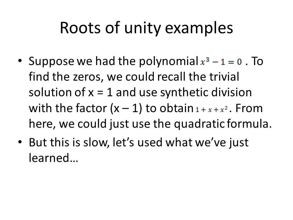 Roots of unity examples