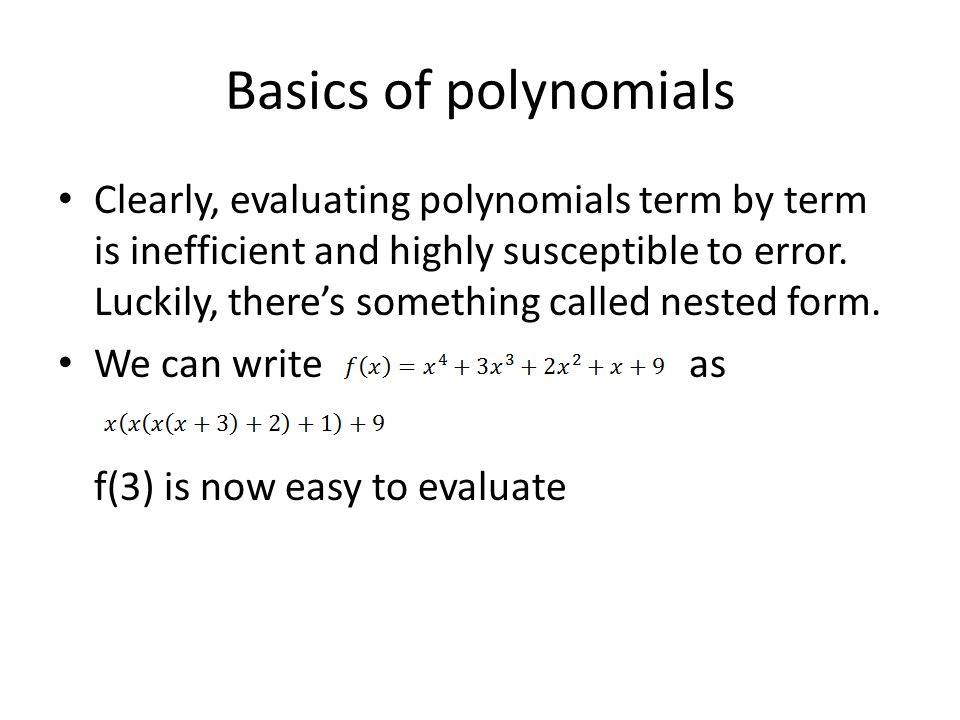Basics of polynomials