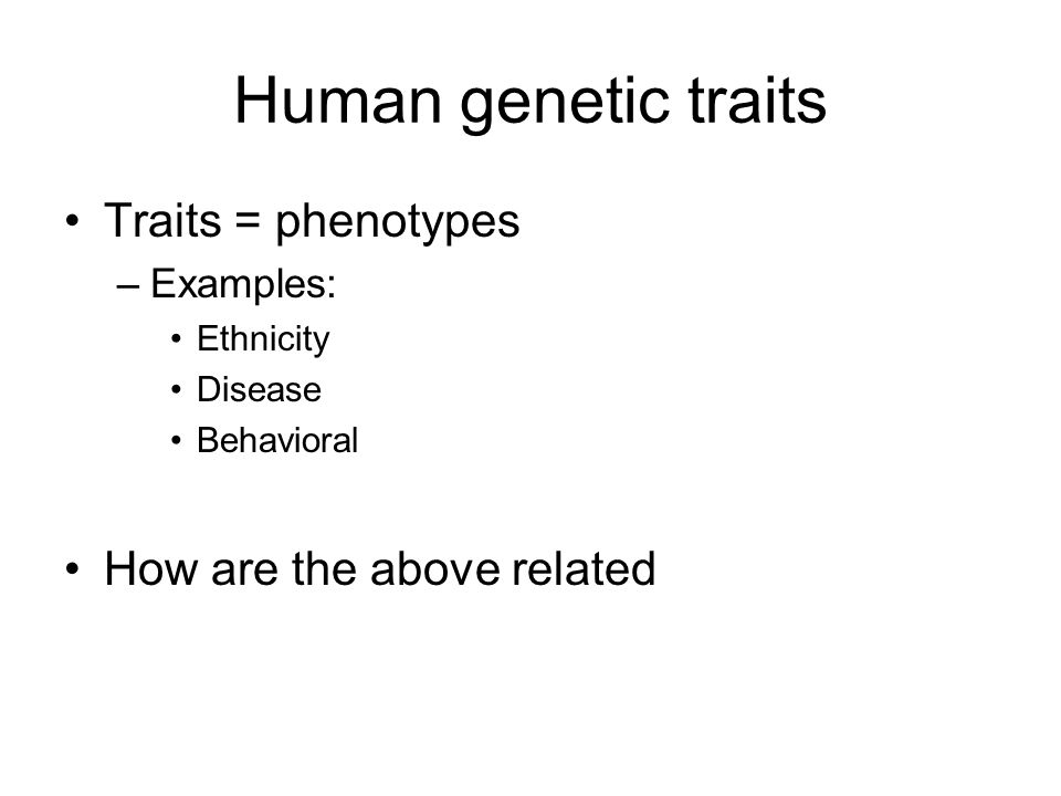 Human genetic traits Traits = phenotypes How are the above related