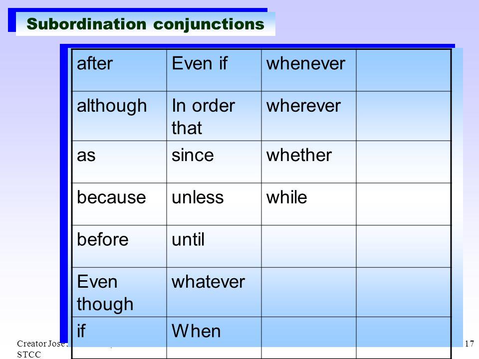Subordination conjunctions