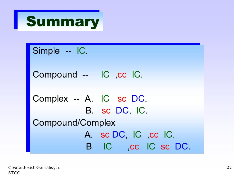 Summary Simple -- IC. Compound -- IC ,cc IC. Complex -- A. IC sc DC.