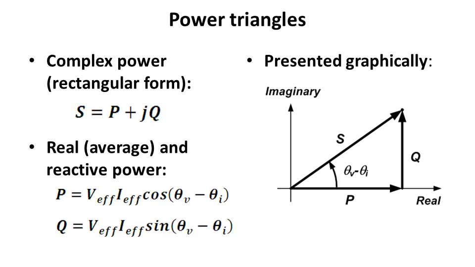 Power triangles Complex power (rectangular form):