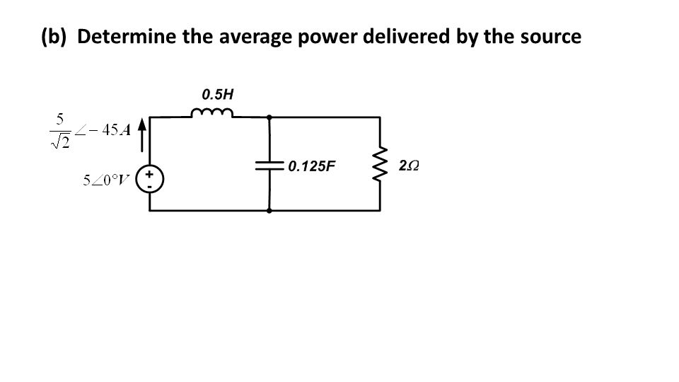 (b) Determine the average power delivered by the source