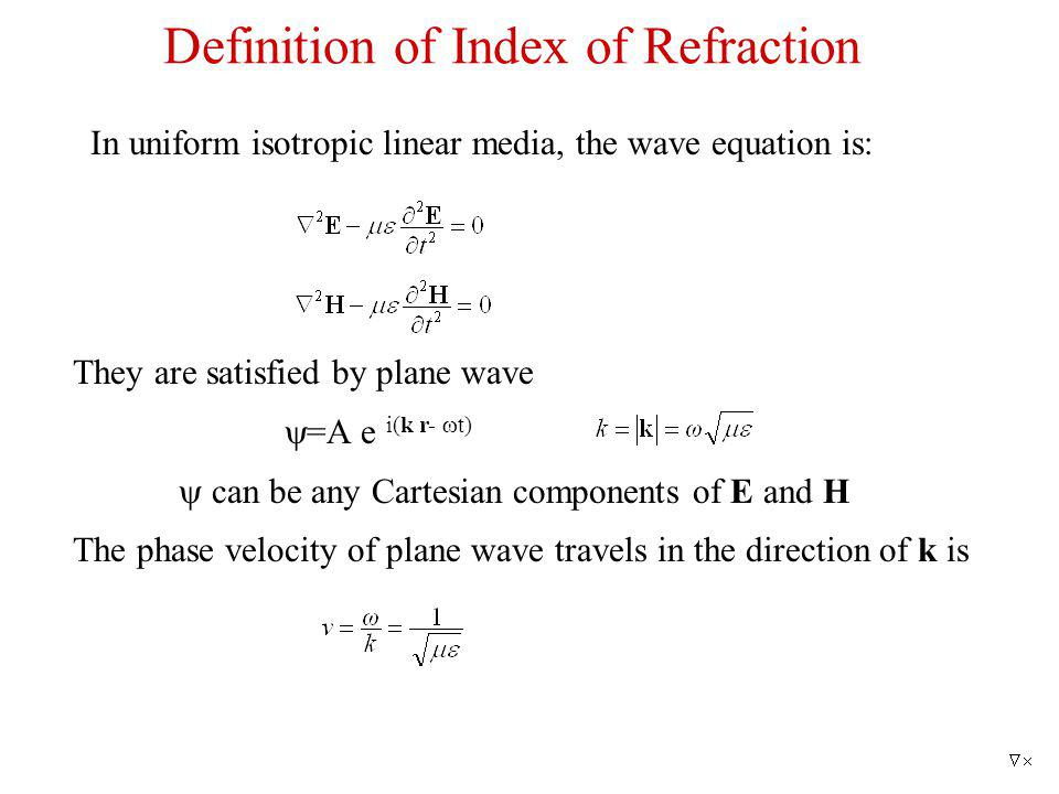 Definition of Index of Refraction