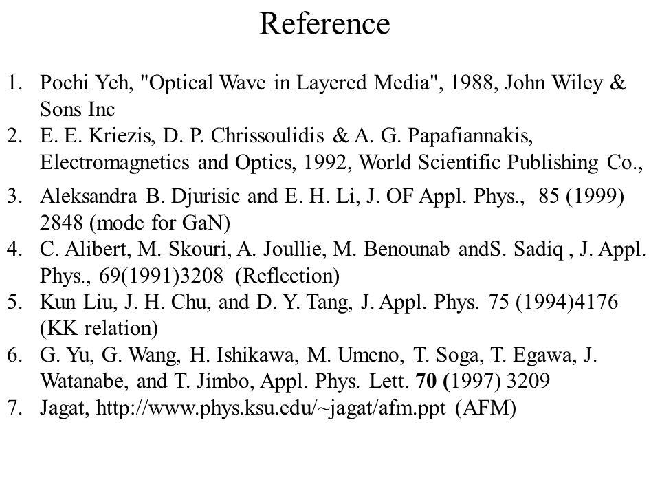 Reference Pochi Yeh, Optical Wave in Layered Media , 1988, John Wiley & Sons Inc.