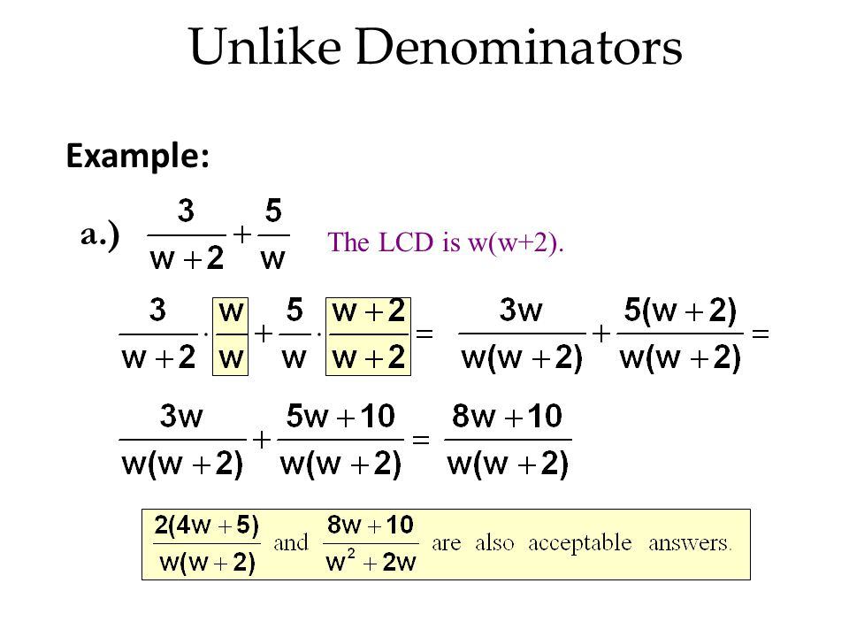 Unlike Denominators Example: a.) The LCD is w(w+2).