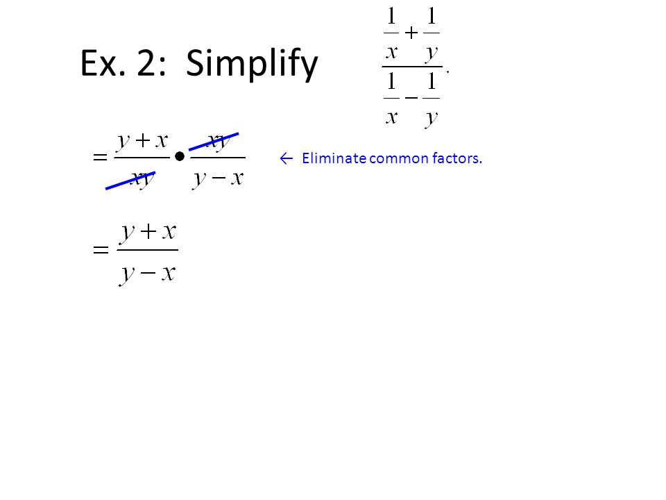 Ex. 2: Simplify ← Eliminate common factors.