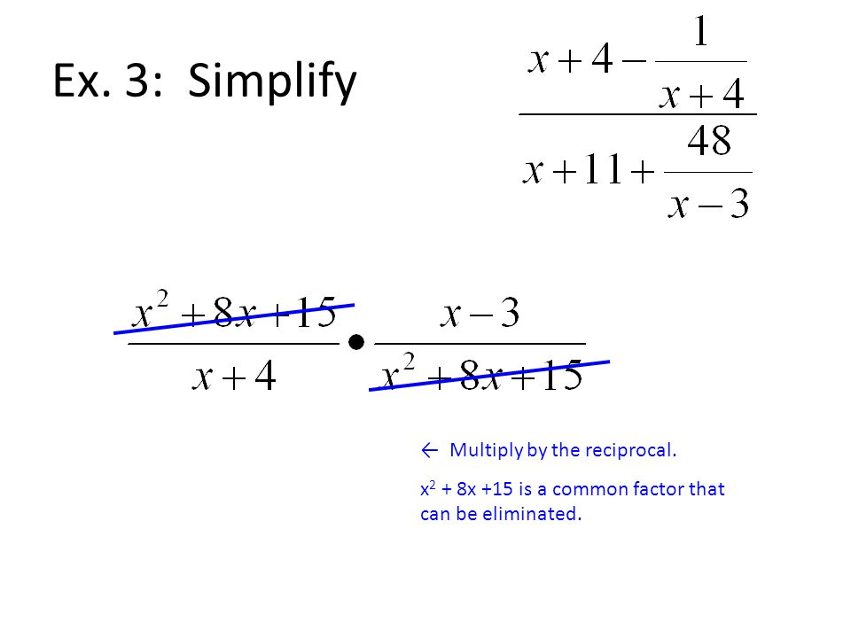 Ex. 3: Simplify ← Multiply by the reciprocal.