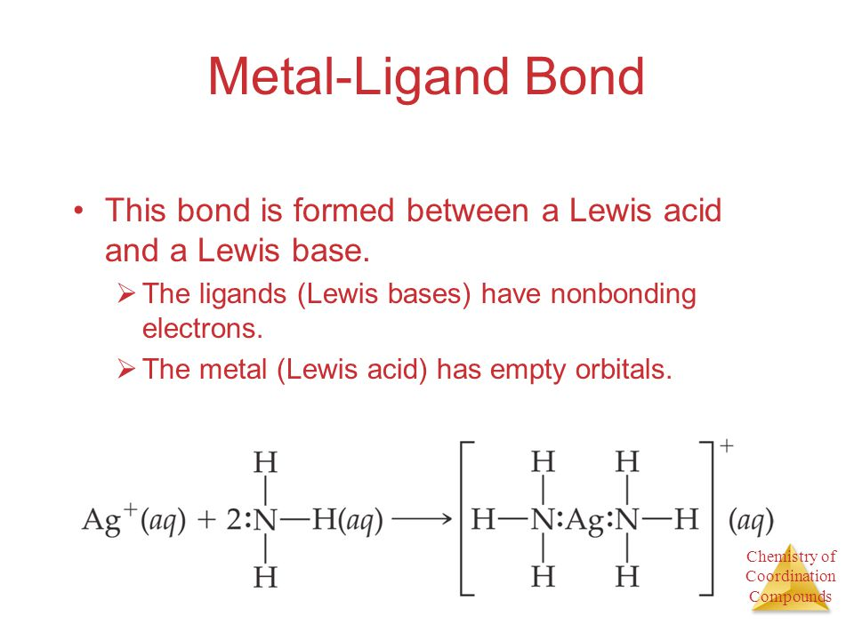 Metal-Ligand Bond This bond is formed between a Lewis acid and a Lewis base. The ligands (Lewis bases) have nonbonding electrons.