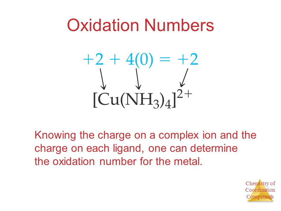 Oxidation Numbers Knowing the charge on a complex ion and the charge on each ligand, one can determine the oxidation number for the metal.