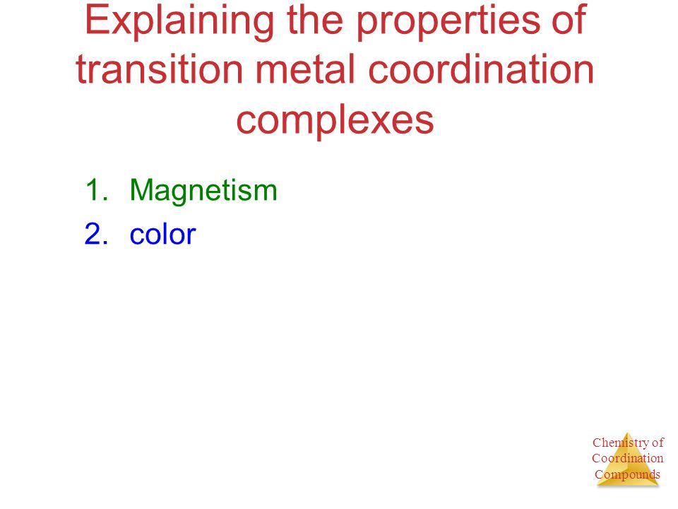 Explaining the properties of transition metal coordination complexes