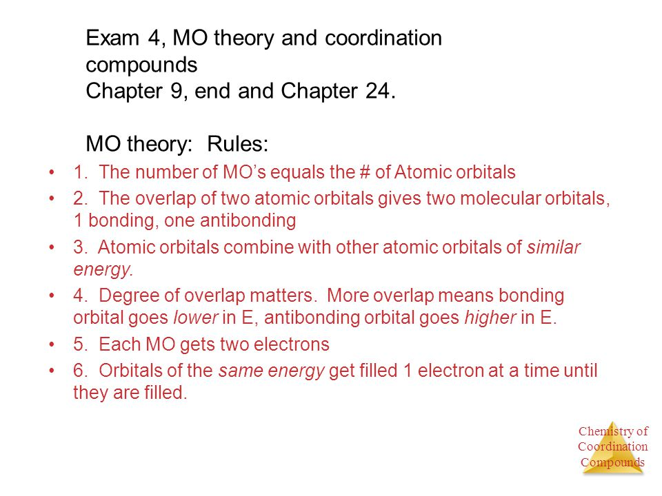 Exam 4, MO theory and coordination compounds