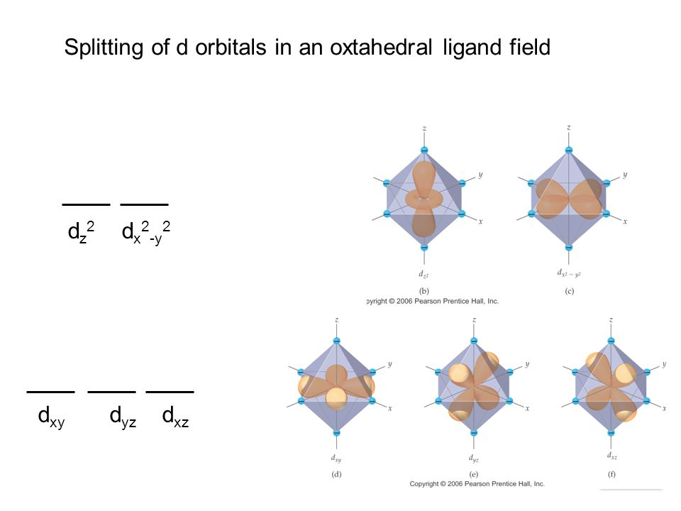 Splitting of d orbitals in an oxtahedral ligand field