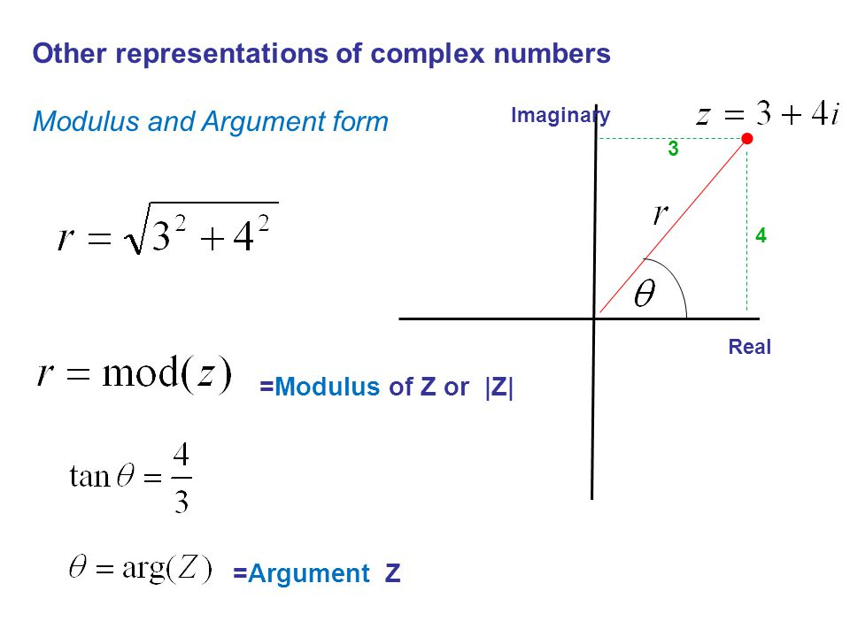 Other representations of complex numbers Modulus and Argument form