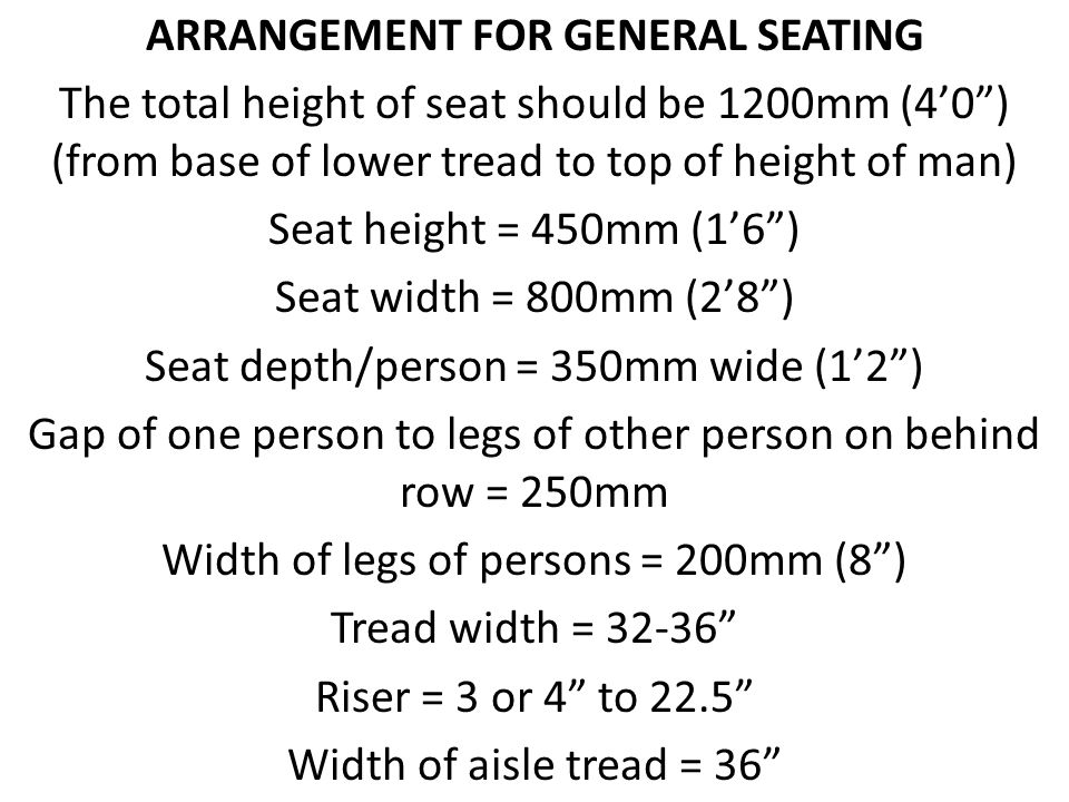 ARRANGEMENT FOR GENERAL SEATING