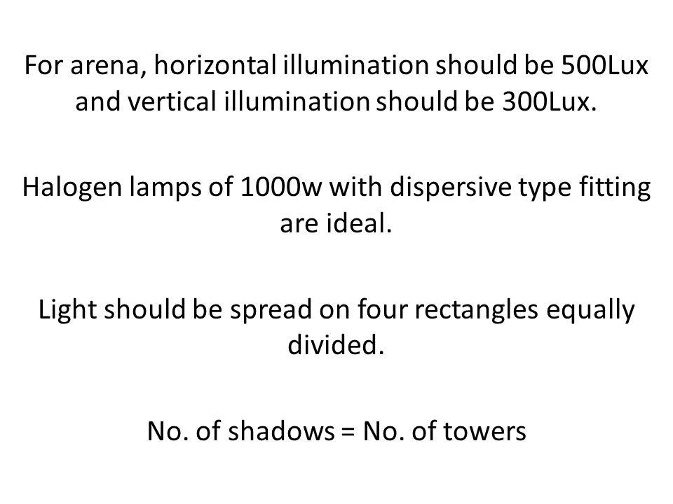 Halogen lamps of 1000w with dispersive type fitting are ideal.