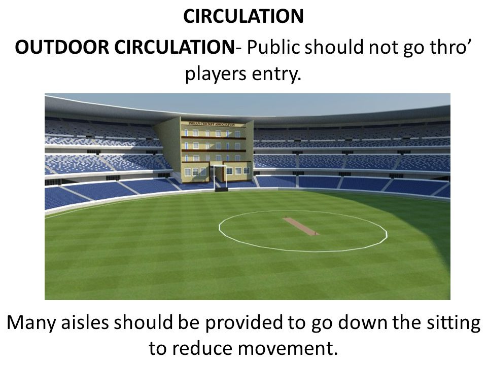 OUTDOOR CIRCULATION- Public should not go thro' players entry.