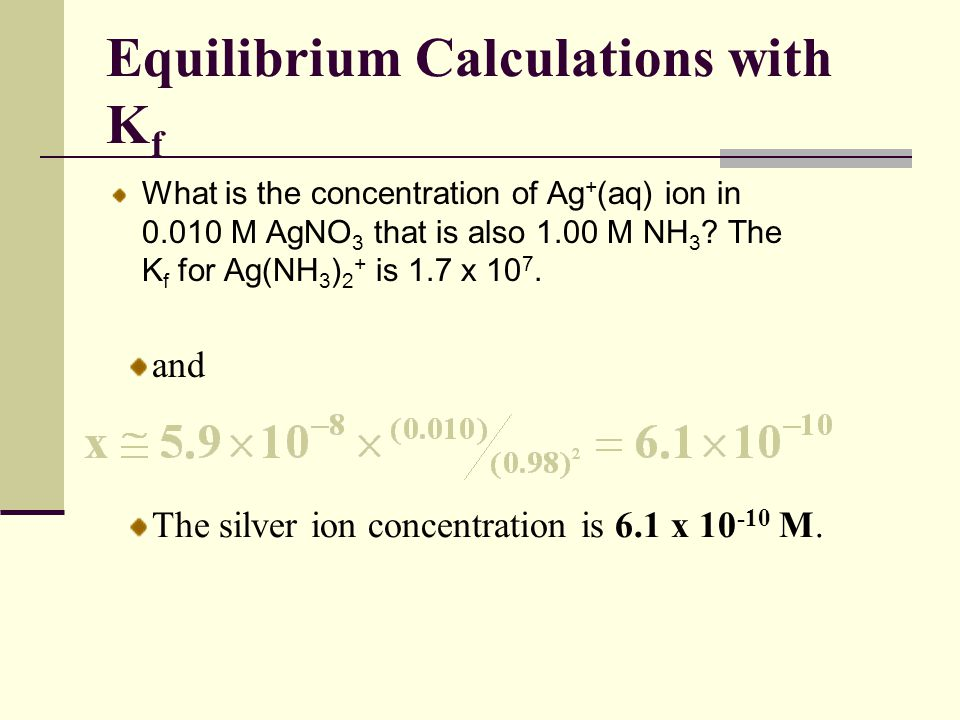 Equilibrium Calculations with Kf