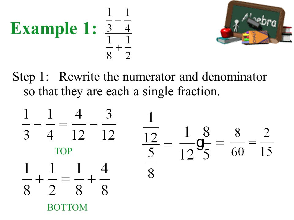 Example 1: Step 1: Rewrite the numerator and denominator so that they are each a single fraction.