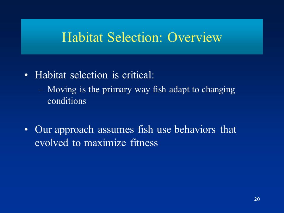 Habitat Selection: Overview