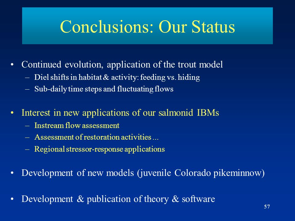 Conclusions: Our Status