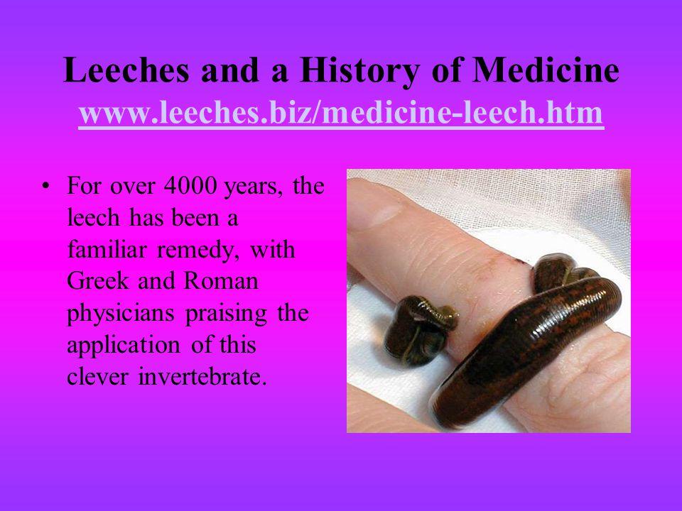 Leeches and a History of Medicine www.leeches.biz/medicine-leech.htm