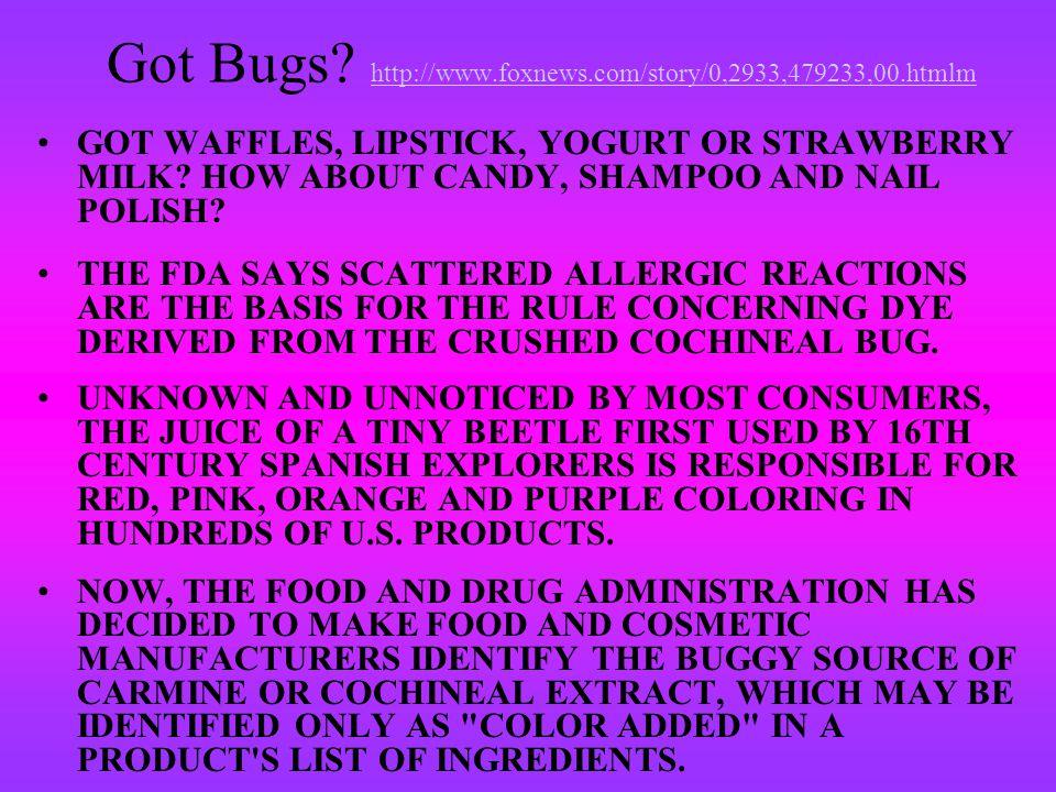 Got Bugs http://www.foxnews.com/story/0,2933,479233,00.htmlm
