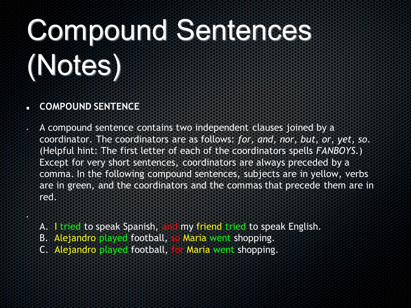 Compound Sentences (Notes)