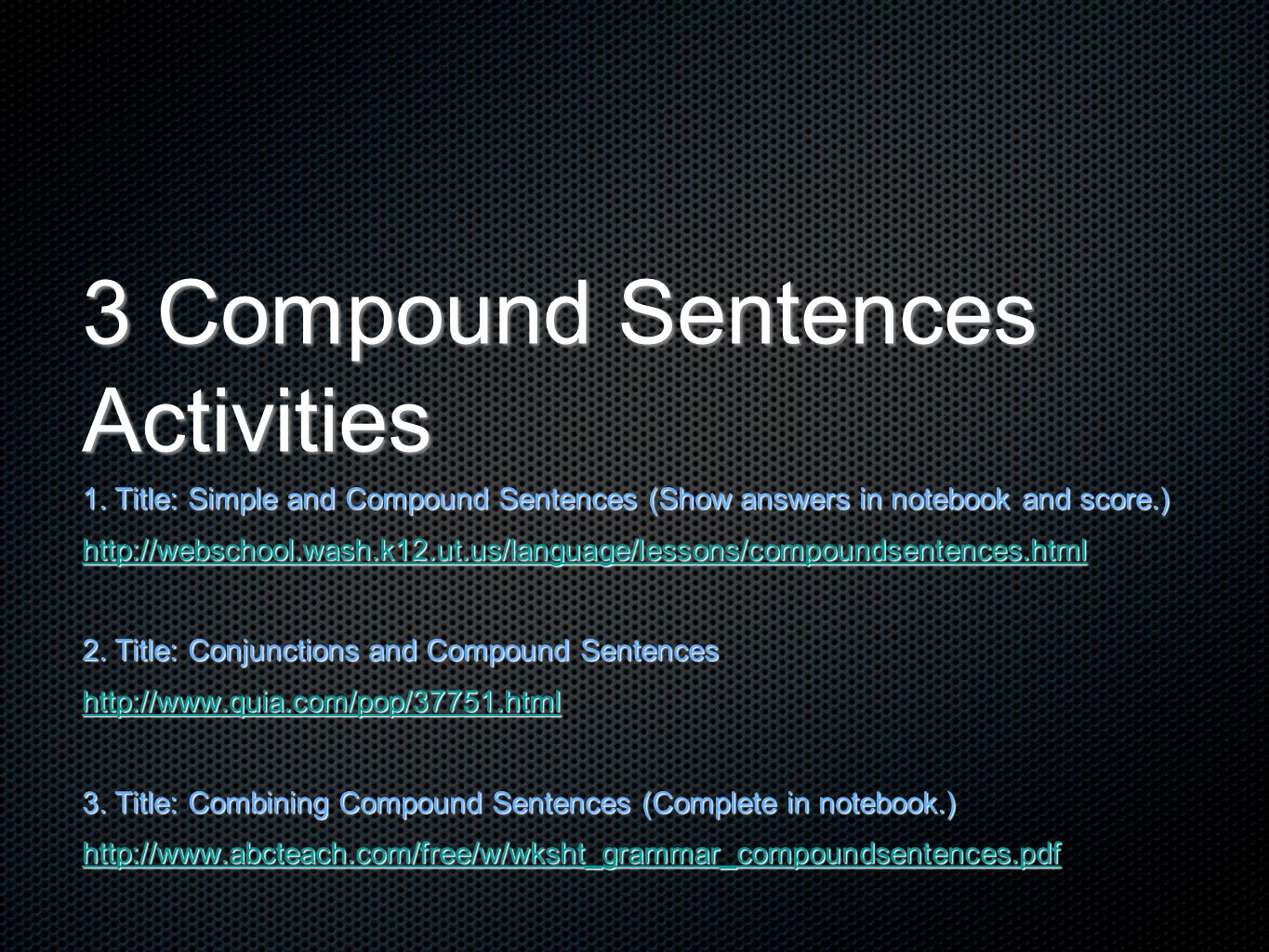 3 Compound Sentences Activities