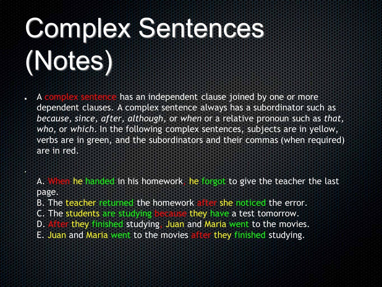 Complex Sentences (Notes)