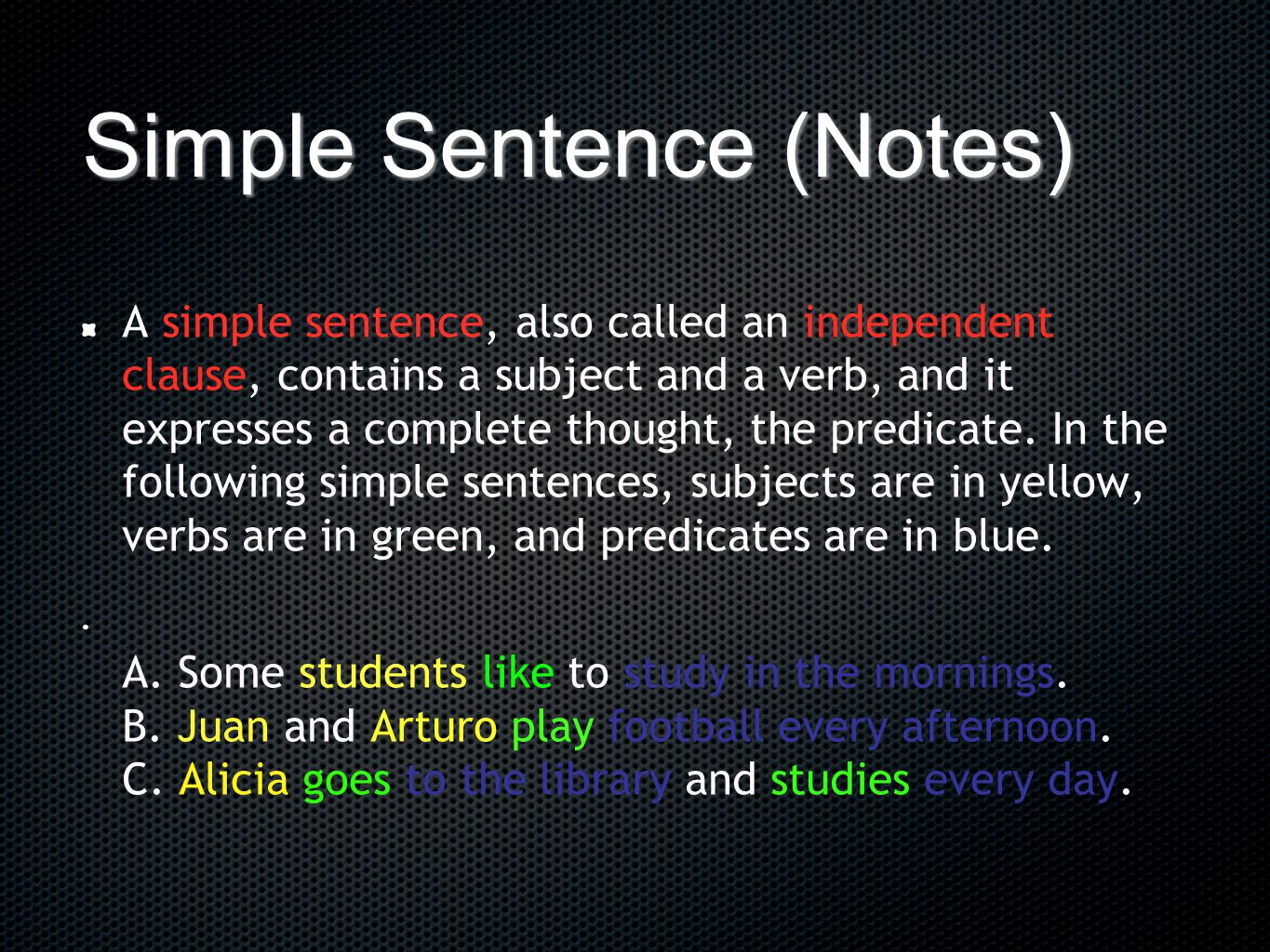 Simple Sentence (Notes)
