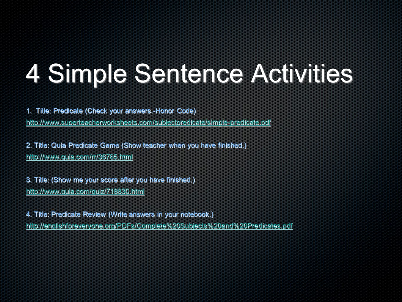 4 Simple Sentence Activities
