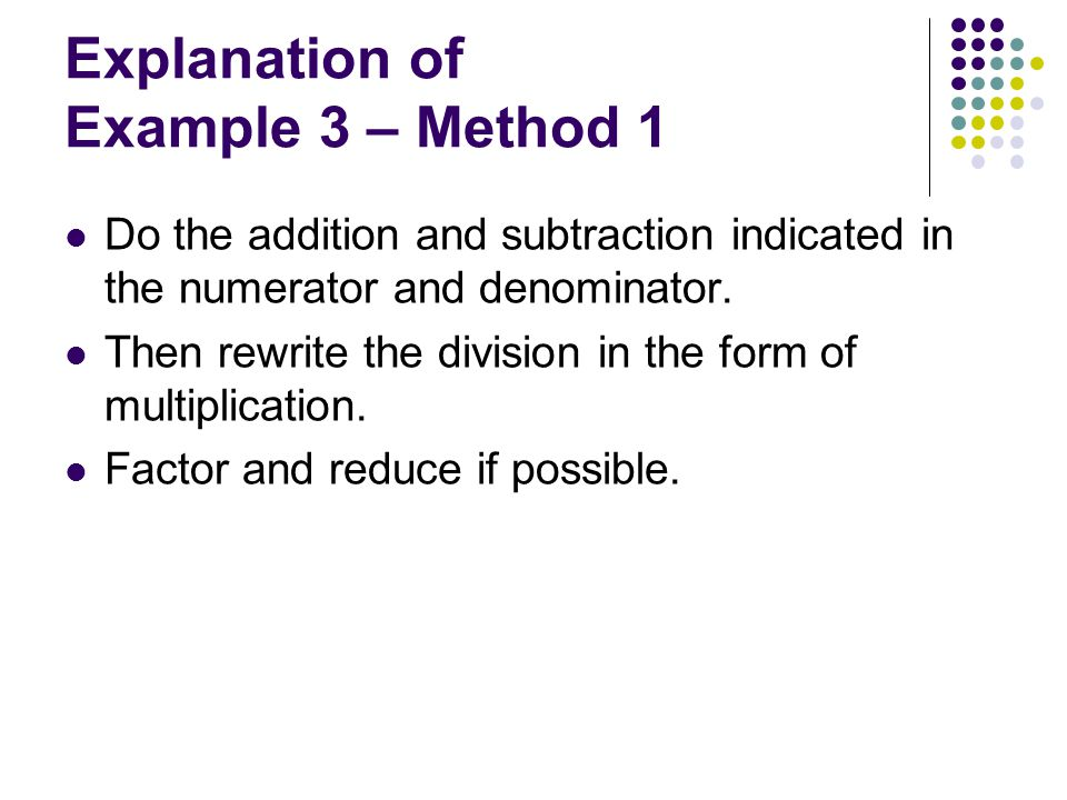 Explanation of Example 3 – Method 1