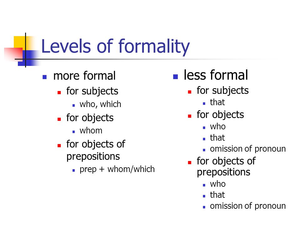 Levels of formality less formal more formal for subjects for subjects