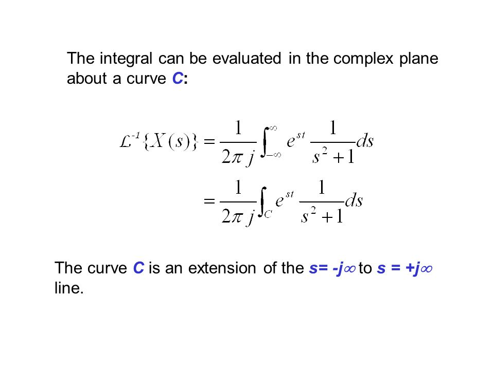 The integral can be evaluated in the complex plane about a curve C: