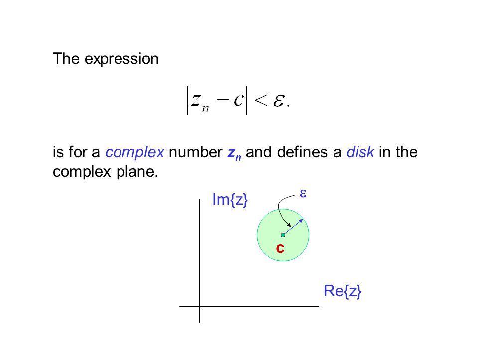 The expression is for a complex number zn and defines a disk in the complex plane. e Im{z} c Re{z}