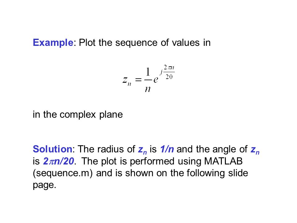 Example: Plot the sequence of values in
