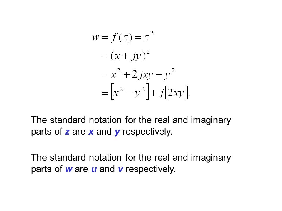The standard notation for the real and imaginary parts of z are x and y respectively.
