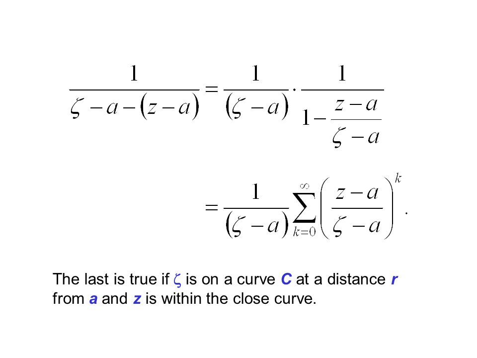 The last is true if z is on a curve C at a distance r from a and z is within the close curve.