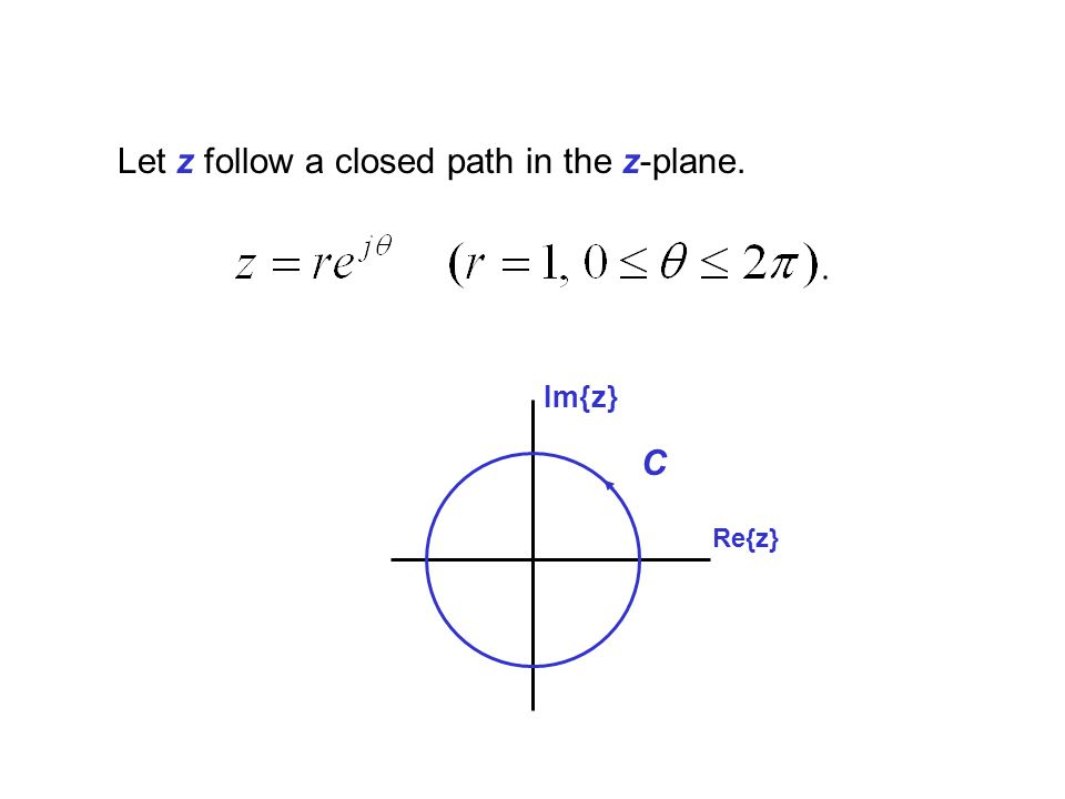 Let z follow a closed path in the z-plane.