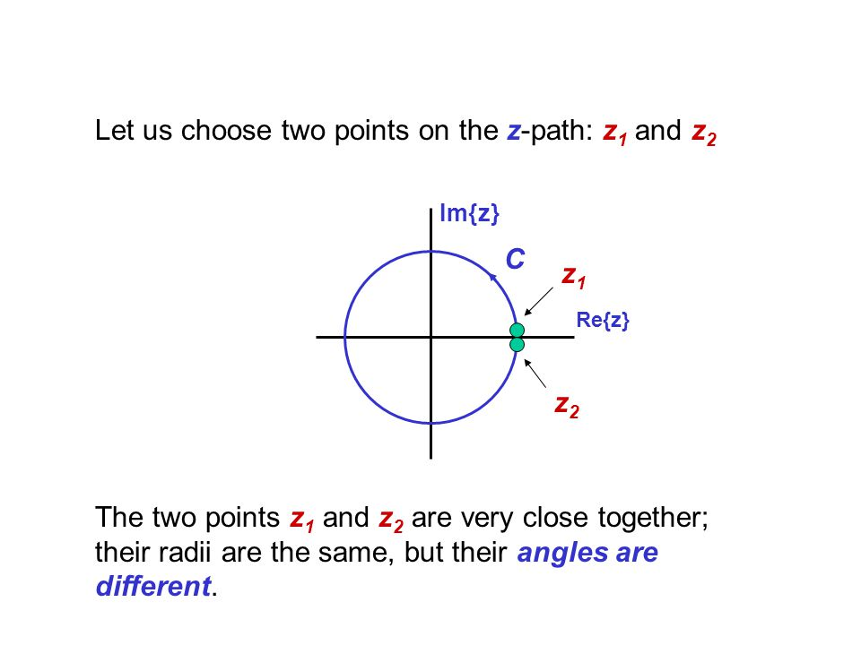 Let us choose two points on the z-path: z1 and z2